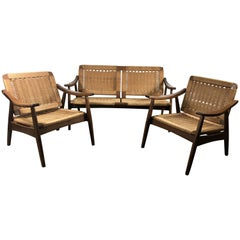 Hans Wegner Style Rope and Teak Three-Piece Suite, Living Room/Patio Set