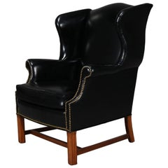 Chippedale Style Fireside Wingback Armchair, Black, 20th Century