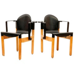 Pair of  black Armchairs Designed by Gerd Lange for Thonet, 1973