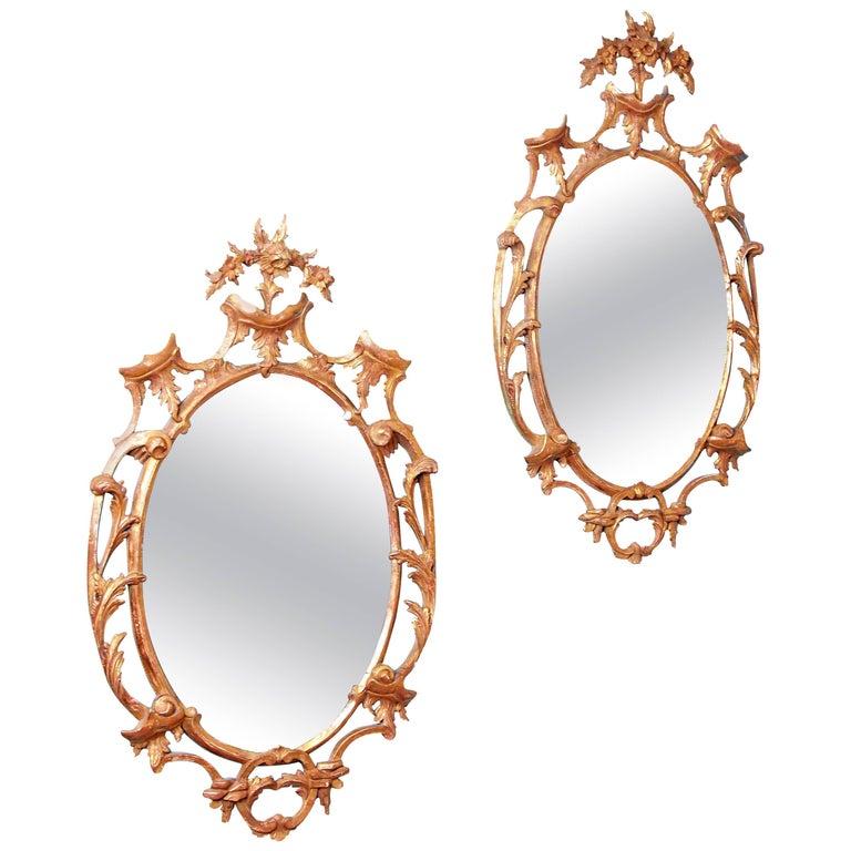 Antique Pair of 18th Century Gilt Mirrors