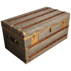 Spectacular French Zinc Steamer Trunk