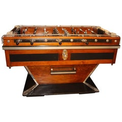 Midcentury French Black and Brown Wood Foosball Table