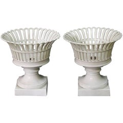 Pair of 19th Century Italian White Porcelain Fruit Baskets or Bowls