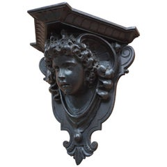 Antique Hand-Carved Renaissance Style Italian Wall Bracket by Ernesto Petralli