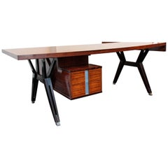 Italian Vintage Desk in Polish Wood by Ico Parisi for MIM, circa 1955
