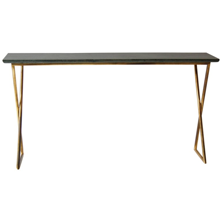 Italian Vintage Brass Console with a Green Marble Attributed to Osvaldo Borsani