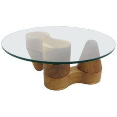 Solid Wood Coffee Table with Glass Round Top, Mid-20th Century