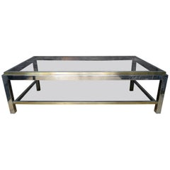 French Brass and Chrome Coffee Table by Jean Charles