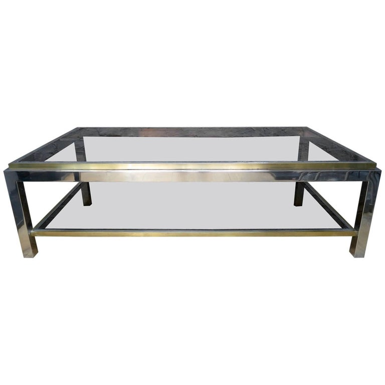 French Brass and Chrome Coffee Table by Jean Charles For Sale