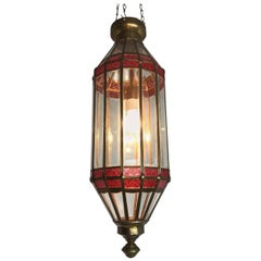 Large Late 20th Century Beveled Glass and Brass Framed Pendant / Lantern Lamp