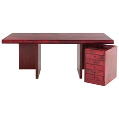 Big Italian Vintage in Red Vellum with Drawers by Tura, circa 1970