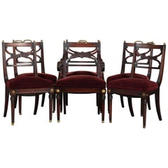 Six English Regency Mahogany and Brass Upholstered Dining Room Chairs