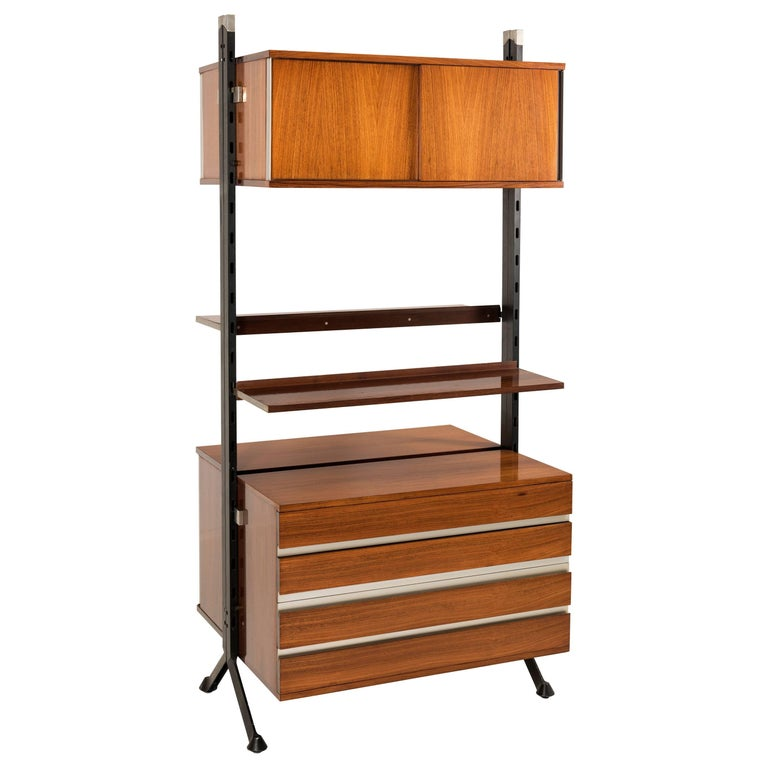 Italian Vintage Middle Room Library in Rosewood by Ico Parisi for MIM, 1960
