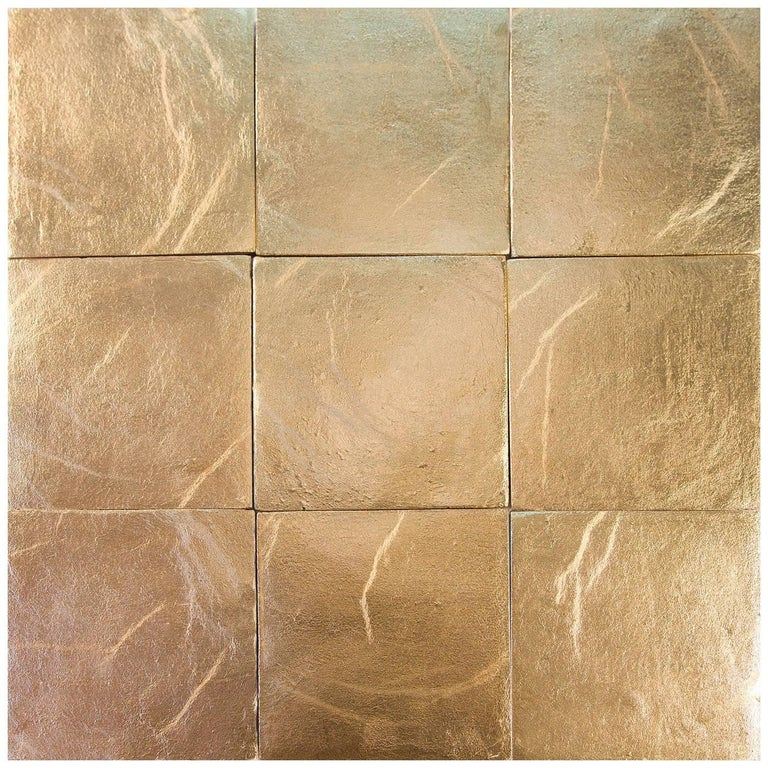 Gold, Square Handcrafted Authentic Gold Ceramic Tiles by Studio Sors For Sale
