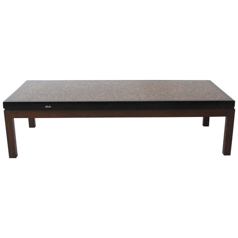 Belgian Vintage Coffee Table in Resine and Oeil de Tigre Inclusion by Ado Chale