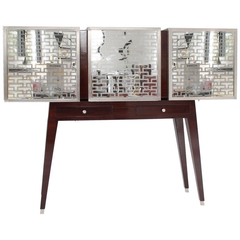 Italian Vintage Rosewood and Mirror Cabinet Attributed to Osvaldo Borsani, 1940
