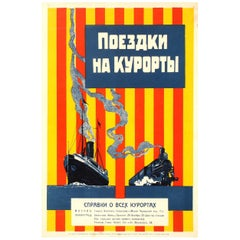 Original Early Soviet NEP Era Constructivist Design Poster Trips to Resorts USSR
