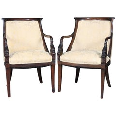 Pair of Antique Figural Continental Carved Mahogany Dolphin Armchairs