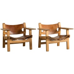 Pair of Børge Mogensen Spanish Chairs for Fredericia Furniture
