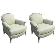 Pair of Elegant White Painted and Giltwood Louis XVI Style Armchairs