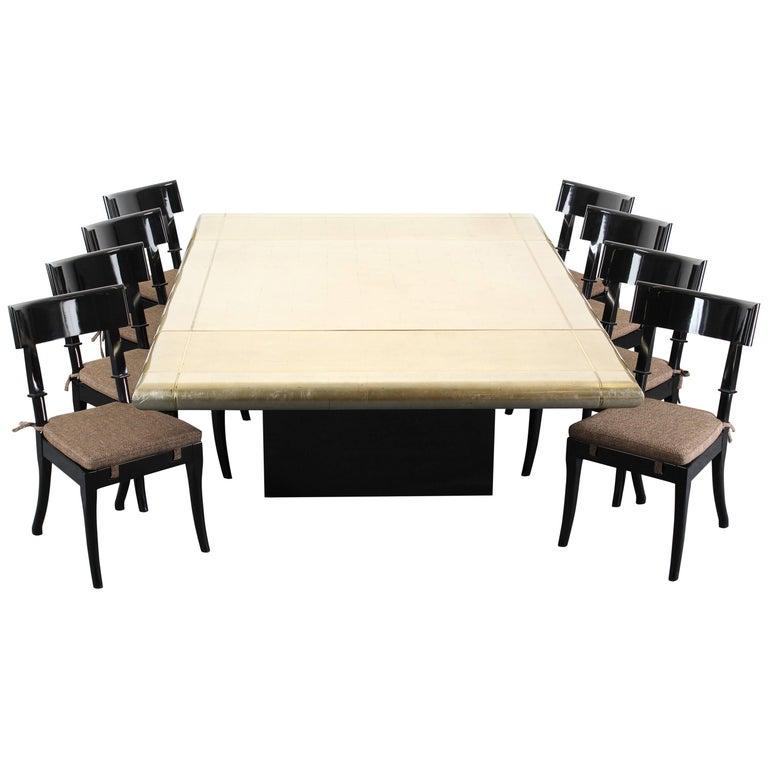 Custom Karl Springer Style Gold Leaf Dining Table, 1988