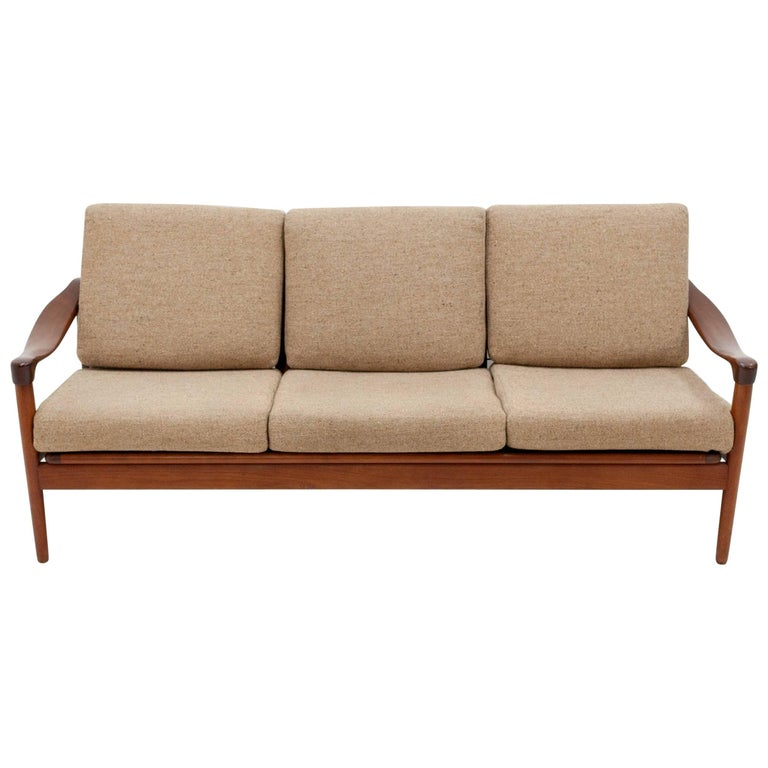 Teak Three-Seat Sofa, De Ster Gelderland, 1950s