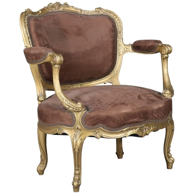 antique french louis xv carved giltwood large fauteuil chair and a half for sale at 1stdibs