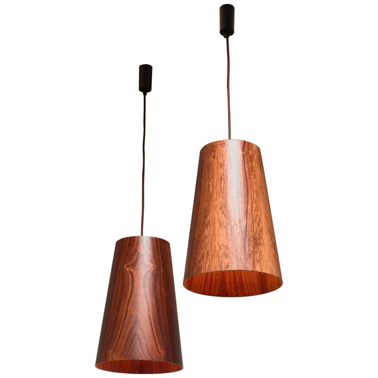 Pair of Large Wooden Cone Pendants by Osten & Uno Kristiansson, Sweden, 1960s For Sale