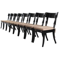 Set of Eight Robsjohn-Gibbings Style Black Lacquered Klismos Dining Chairs, 1988