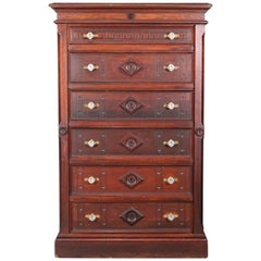 Antique Eastlake Carved and Inlaid Walnut Six-Drawer Side Lock High Chest