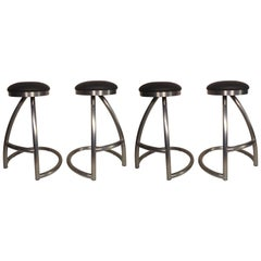 Set of Four Tubular Swivel Stools