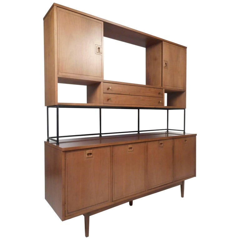 Impressive Two-Piece Midcentury Wall Unit by Stanley