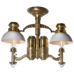 Very Rare 1800s Adams & Westlake Railroad Dining Car Double Chandelier