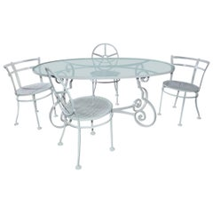 Oval Metal and Glass Midcentury Patio/Porch Garden Table and Four Dining Chairs