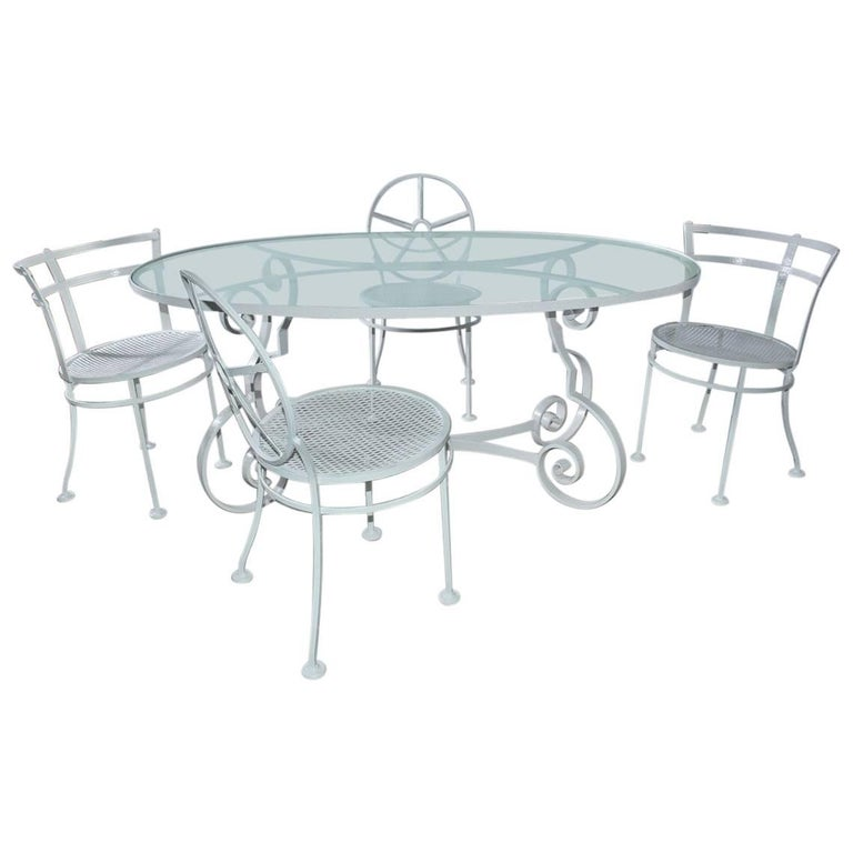 Oval Metal and Glass Midcentury Patio/Porch Garden Table and Four Dining Chairs For Sale