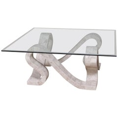 """Ribbon"" Square Cocktail or Coffee Table in Tessellated Cantor Stone"