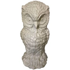 Monumentally Large White Ceramic Owl