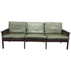 Great Leather and Hardwood Sofa by Illum Wilkkelso