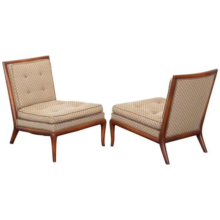 Pair of T.H. Robsjohn-Gibbings Slipper Chairs, 1950s