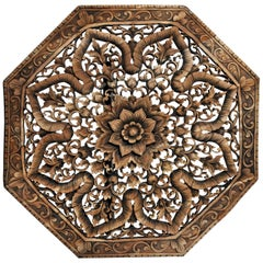 Octagonal Southeast Asian Carved Flower Panel