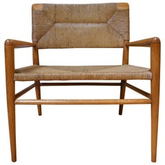 Mid-Century Modern Lounge Chair by Mel Smilow Furniture in Walnut and Rush