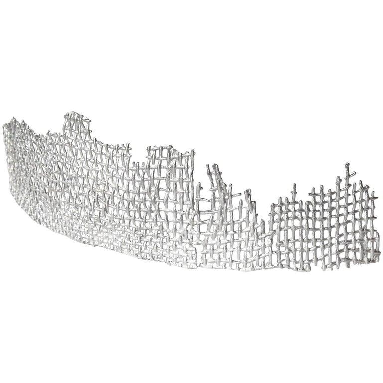 Contemporary Metal Cast Sculpture, Aluminum Curved Cast Form 4 by Mimi Jung