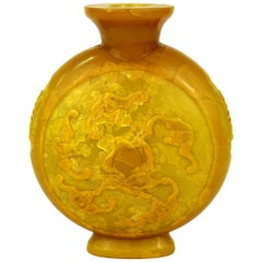 Chinese Peking Imperial Yellow Vase with High Relief Motif of Bats and Peaches