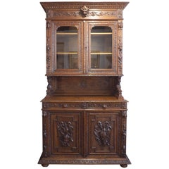 19th Century German Black Forest Carved Hunting Cabinet