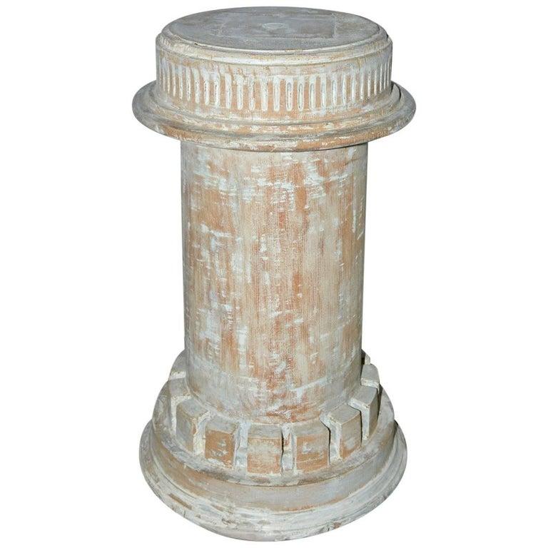 Antique Classical Style Column Wood Plinth For Sale