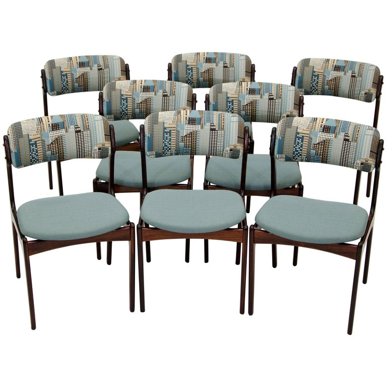 Set of Eight Rosewood Dining Chairs by Erik Buck