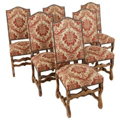 Set of Six Midcentury French Hand Pegged Ash Mutton Leg Side Chairs