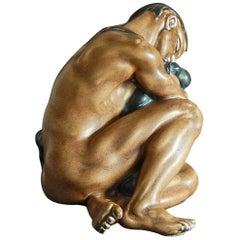 """Drunken Youth,"" Rare Male Nude Sculpture by Kai Nielsen for Bing & Grondahl"