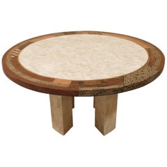 """""""Collage"""" Round Dining Table in Tessellated Stone and Natural Materials, 1990s"""