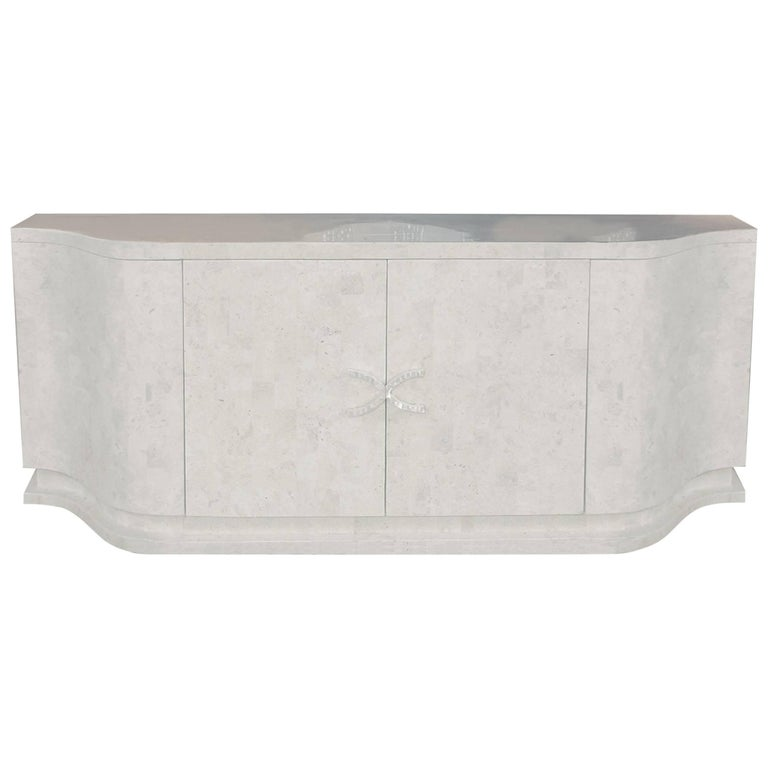 Large X Buffet Cabinet in Tessellated Stone with Trocca Shell